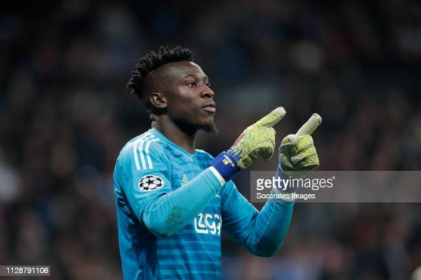 Andre Onana of Ajax during the UEFA Champions League match between Real Madrid v Ajax at the Santiago Bernabeu on March 5 2019 in Madrid Spain