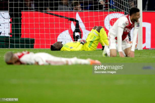 Andre Onana of Ajax during the UEFA Champions League match between Ajax v Tottenham Hotspur at the Johan Cruijff Arena on May 8 2019 in Amsterdam...