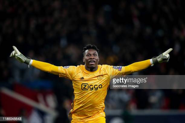Andre Onana of Ajax during the UEFA Champions League match between Lille v Ajax at the Stade Pierre Mauroy on November 27 2019 in Lille France