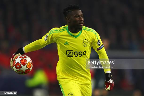 Andre Onana of Ajax in action during the UEFA Champions League Round of 16 First Leg match between Ajax and Real Madrid at Johan Cruyff Arena on...