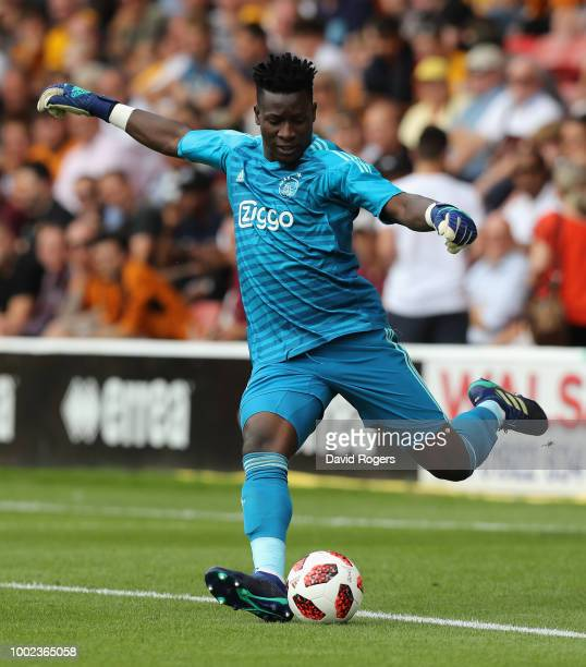 Andre Onana of Ajax kicks the ball upfield during the pre seaon friendly match between Wolverhampton Wanderers and Ajax at the Banks' Stadium on July...