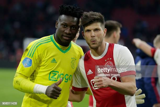Andre Onana of Ajax Klaas Jan Huntelaar of Ajax celebrate the victory during the Dutch Eredivisie match between Ajax v Feyenoord at the Johan Cruijff...