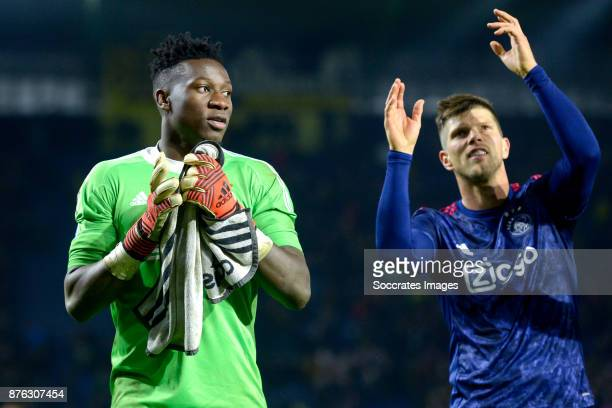 Andre Onana of Ajax Klaas Jan Huntelaar of Ajax celebrates the victory during the Dutch Eredivisie match between NAC Breda v Ajax at the Rat Verlegh...