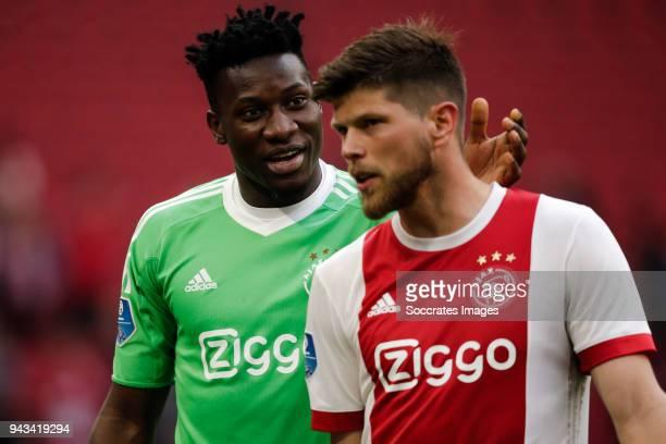 Andre Onana of Ajax Klaas Jan Huntelaar of Ajax during the Dutch Eredivisie match between Ajax v Heracles Almelo at the Johan Cruijff Arena on April...