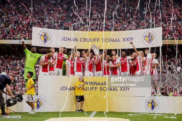 Andre Onana of Ajax Perr Schuurs of Ajax Joel Veltman of Ajax Donny van de Beek of Ajax Dusan Tadic of Ajax Quincy Promes of Ajax Daley Blind of Ajax...