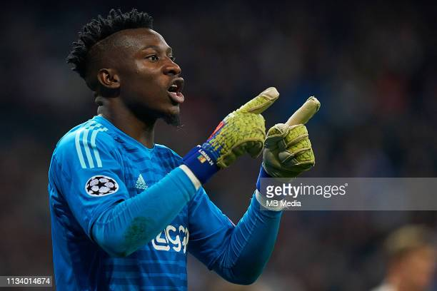 Andre Onana of Ajax reacts during the UEFA Champions League Round of 16 Second Leg match between Real Madrid and Ajax at Bernabeu on March 5 2019 in...
