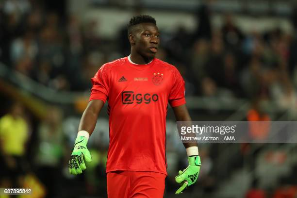 Andre Onana of Ajax reacts during the UEFA Europa League Final between Ajax and Manchester United at Friends Arena on May 24 2017 in Stockholm Sweden