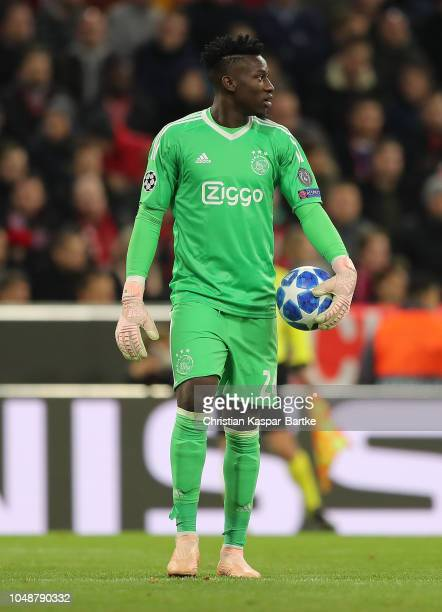 Andre Onana of Amsterdam holds the ball during the Group E match of the UEFA Champions League between FC Bayern Muenchen and Ajax at Allianz Arena on...