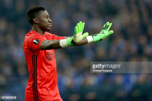 Andre Onana of Amsterdam is seen during the UEFA Europa League quarter final second leg match between FC Schalke 04 and Ajax Amsterdam at...
