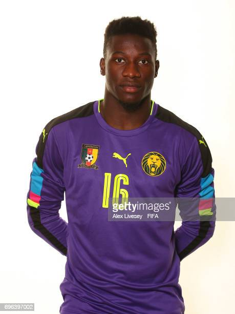 Andre Onana of Cameroon during a portrait shoot ahead of the FIFA Confederations Cup Russia 2017 at the Renaissance Monarch Hotel on June 15 2017 in...