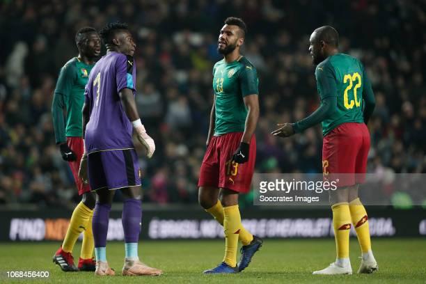 Andre Onana of Cameroon Eric Maxim ChoupoMoting of Cameroon Jean Armel Kana Biyik of Cameroon during the International Friendly match between Brazil...