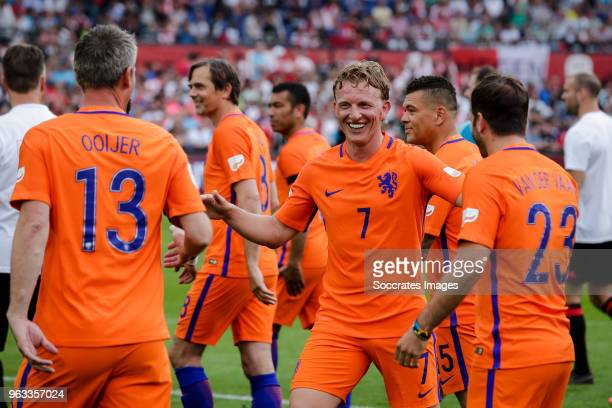 Andre Ooijer Dirk Kuyt Rafael van der Vaart during the Dirk Kuyt Testimonial at the Feyenoord Stadium on May 27 2018 in Rotterdam Netherlands