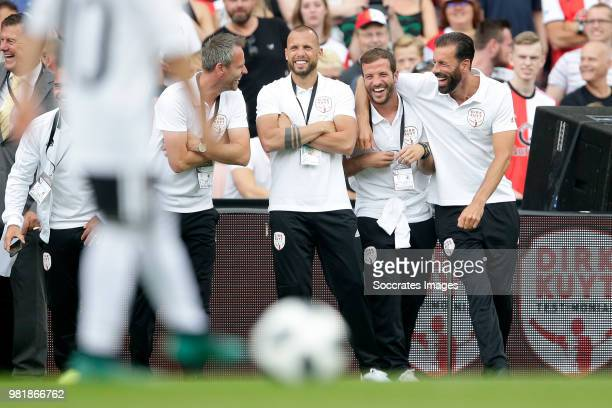 Andre Ooijer John Heitinga Rafael van der Vaart Ruud van Nistelrooy during the Dirk Kuyt Testimonial at the Feyenoord Stadium on May 27 2018 in...