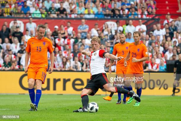Andre Ooijer of Holland Dirk Kuyt of Feyenoord John Heitinga of Holland Frank de Boer of Holland during the Dirk Kuyt Testimonial match at stadium de...