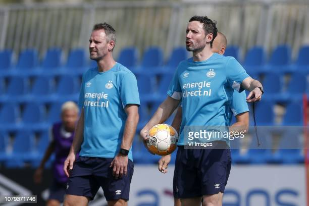 Andre Ooijer of PSV Coach Mark van Bommel of PSV during the training camp of PSV Eindhoven at the Aspire Academy on January 08 2019 in Doha Qatar