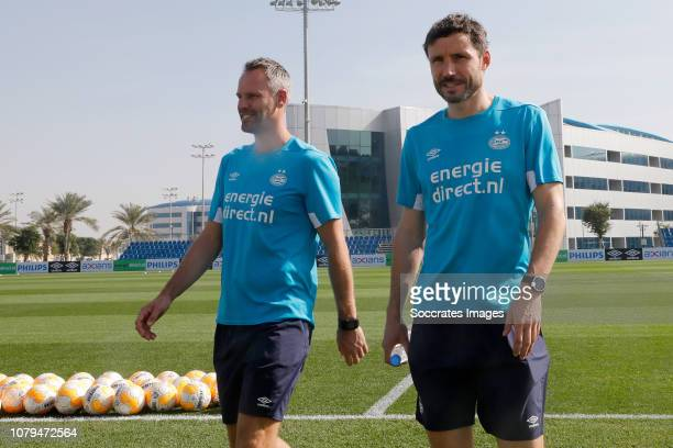 Andre Ooijer of PSV coach Mark van Bommel of PSV during the Training Camp PSV in Qatar on January 9 2019 in Doha Qatar