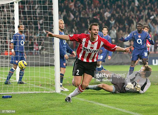 Andre Ooijer of PSV Eindhoven celebrates his goal during the Group E UEFA Champion's League match between PSV Eindhoven and Arsenal on November 24...