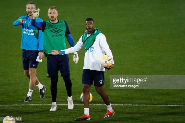 Andre Ooijer of PSV Jeroen Zoet of PSV Denzel Dumfries of PSV during the Training Camp PSV in Qatar on January 7 2019 in Doha Qatar