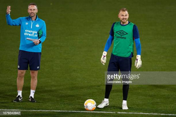 Andre Ooijer of PSV Jeroen Zoet of PSV during the Training Camp PSV in Qatar on January 7 2019 in Doha Qatar