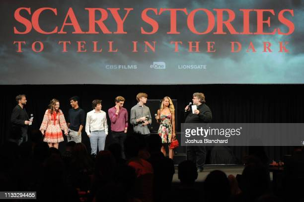 Andre Ovredal Zoe Colletti Michael Garza Austin Zajour Austin Abrams Gabriel Rush Natalie Ganzhorn and Guillermo del Toro attend Scary Stories To...