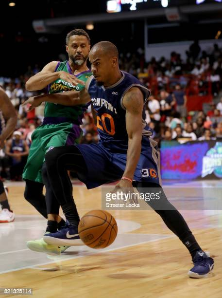 Andre Owens of 3s Company dribbles the ball while being guarded by Mahmoud AbdulRauf of the 3 Headed Monsters during week five of the BIG3 three on...