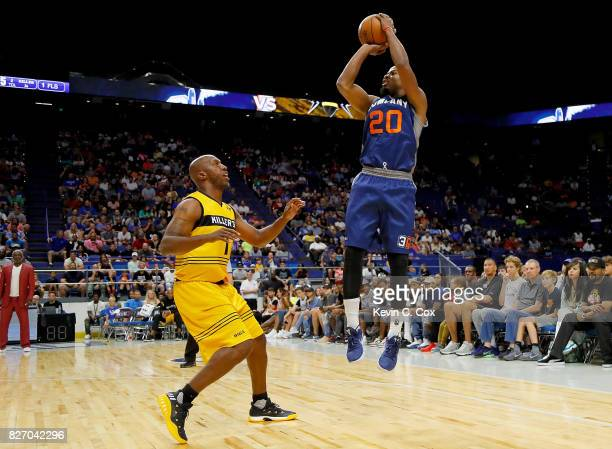 Andre Owens of 3's Company shoots the ball during the game against the Killer 3s during week seven of the BIG3 three on three basketball league at...