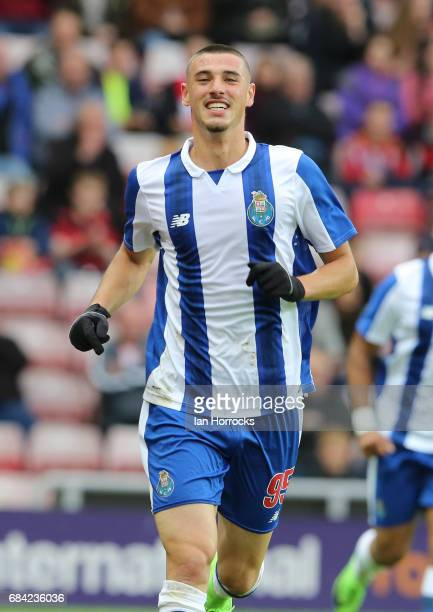 Andre Pereira of Porto celebrates scoring the third goal during the Premier League International cup Final match between Sunderland and Porto at...