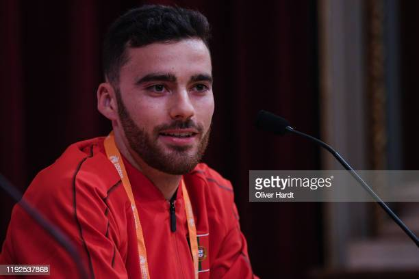 Andre Pereira of Portugal speak during a press conference ahead of the European Cross Country at the Pacos do Concelho Lisbon Town Hall on December...