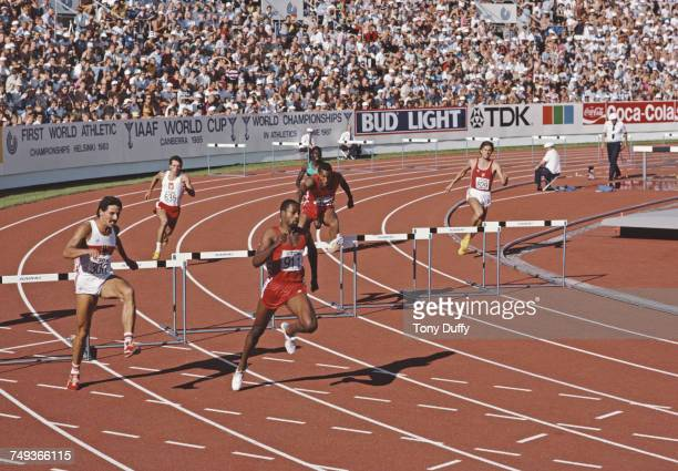Andre Phillips of the United States ahead of Harald Schmid of West Germany and David Lee of the United States chase Ed Moses in the Men's 400 metres...