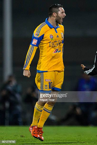 Andre Pierre Gignac celebrates after scoring the first goal of his team during the final second leg match between Pumas UNAM and Tigres UANL as part...