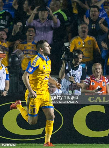 Andre Pierre Gignac forward of Tigres celebrates after scoring against Pumas during the first leg of the final of the Mexican Apertura 2015...