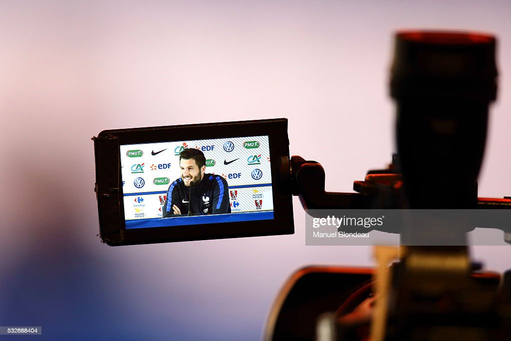 Andre Pierre Gignac of France in press conference during the preparation on the French football National Team for Euro 2016 on May 19, 2016 in Biarritz, France.