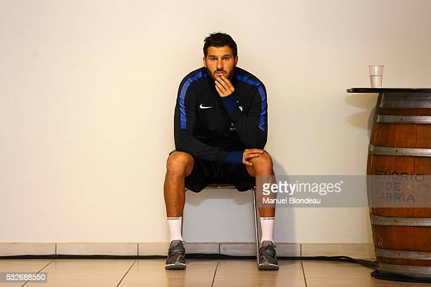 Andre Pierre Gignac of France is pictured near the stage prior to a press conference during the preparation on the French football National Team for...