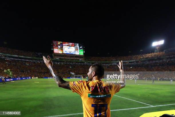 Andre Pierre Gignac of Tigres celebrates after scoring the first goal of his team during the Final first leg match between Tigres UANL and Leon as...