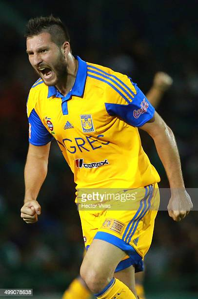 Andre Pierre Gignac of Tigres celebrates after scoring the first goal of his team during the quarterfinals second leg match between Chiapas and...
