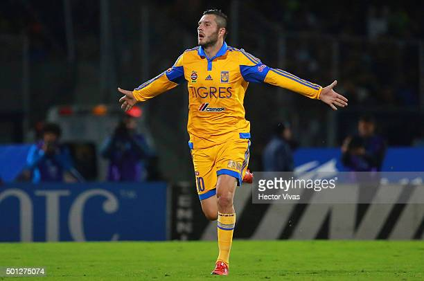 Andre Pierre Gignac of Tigres celebrates after scoring the first goal of his team during the final second leg match between Pumas UNAM and Tigres...