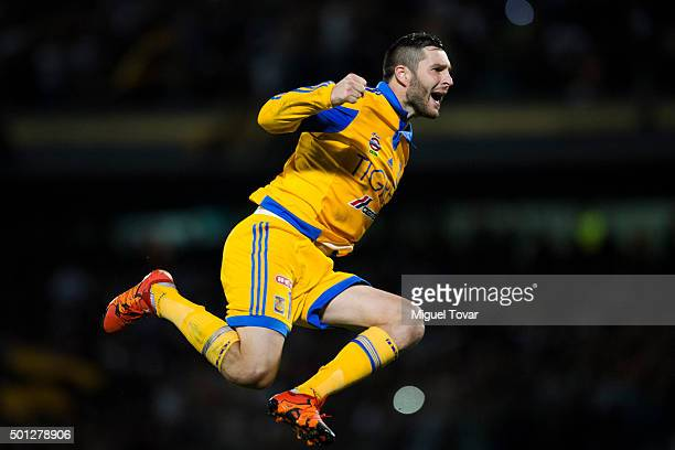 Andre Pierre Gignac of Tigres celebrates after scoring the first penalty kick during the final second leg match between Pumas UNAM and Tigres UANL as...
