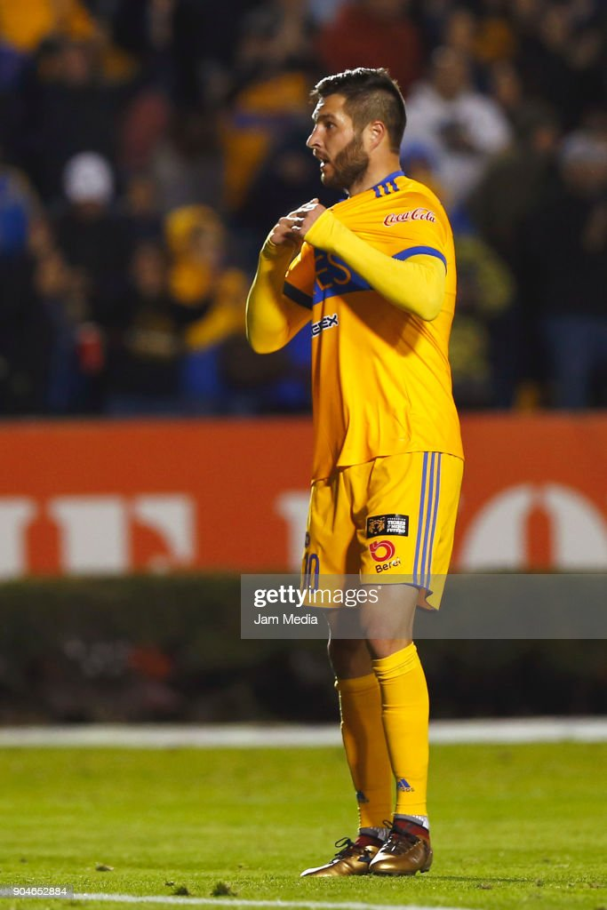 Andre Pierre Gignac of Tigres celebrates after scoring the second goal of his team during the second round match between Tigres UANL and Santos Laguna as part of the Torneo Clausura 2018 Liga MX at Universitario Stadium on January 13, 2018 in Monterrey, Mexico.