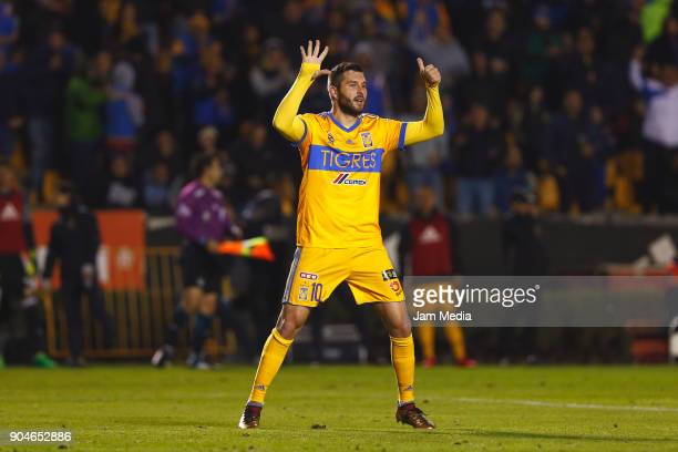 Andre Pierre Gignac of Tigres celebrates after scoring the second goal of his team during the second round match between Tigres UANL and Santos...