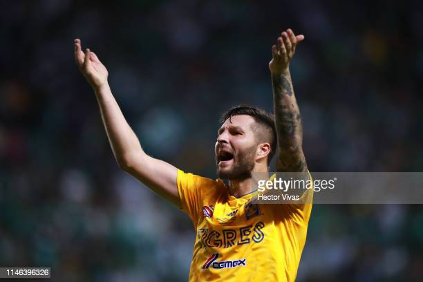 Andre Pierre Gignac of Tigres celebrates after the final second leg match between Leon and Tigres UANL as part of the Torneo Clausura 2019 Liga MX at...