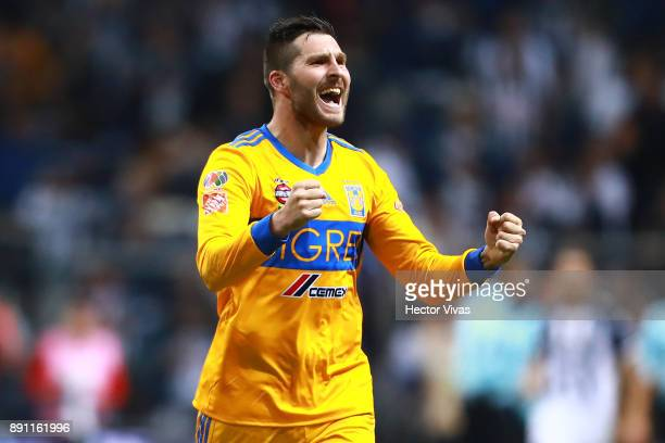 Andre Pierre Gignac of Tigres celebrates after winning the second leg of the Torneo Apertura 2017 Liga MX final between Monterrey and Tigres UANL at...