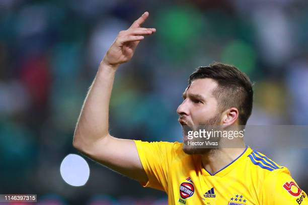 Andre Pierre Gignac of Tigres celebrates winning the championship after the final second leg match between Leon and Tigres UANL as part of the Torneo...
