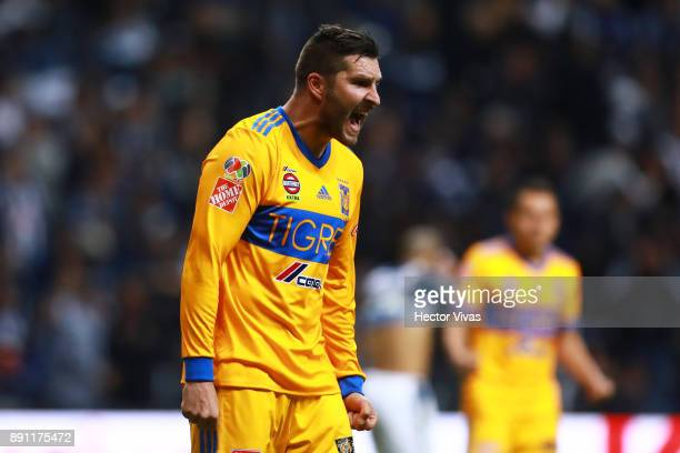 Andre Pierre Gignac of Tigres gestures during the second leg of the Torneo Apertura 2017 Liga MX final between Monterrey and Tigres UANL at BBVA...
