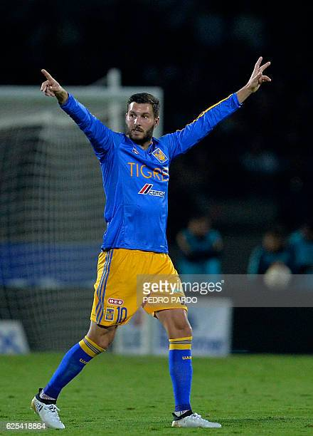 Andre Pierre Gignac of Tigres gestures during their quarter final match of Mexican Apertura 2016 Tournament football match against Pumas at Olympic...