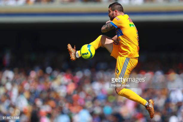 Andre Pierre Gignac of Tigres kicks the ball during the 5th round match between Pumas UNAM and Tigres UANL as part of the Torneo Clausura 2018 Liga...