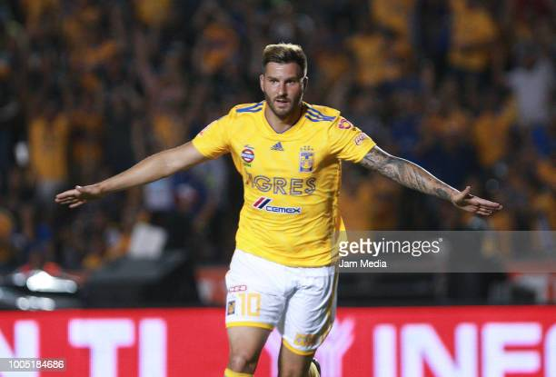 Andre Pierre Gignac of Tigres UANL celebrates after scoring the second goal of his team during the first round match between Tigres and Leon as part...