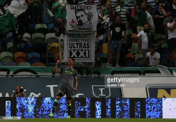 Andre Pinto from Sporting CP celebrates after scoring a goal during the PreSeason Friendly match between Sporting CP and Olympique de Marseille at...