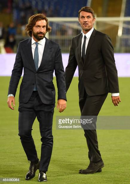 Andre Pirlo and Paolo Maldini before Interreligious Match for Peace at Olimpico Stadium on September 1 2014 in Rome Italy