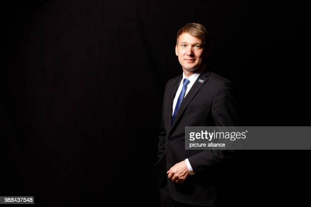 Andre Poggenburg state chairman of the Alternative for Germany SaxonyAnhalt stands in a mobile photo studio in the course of the AfD's party...