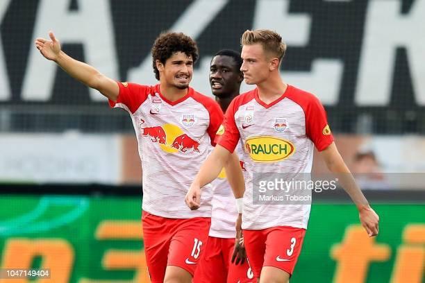 Andre Ramalho of RB Salzburg Diadie Samassekou of RB Salzburg and Jasper Van der Werff of RB Salzburg during the tipico Bundesliga match between...